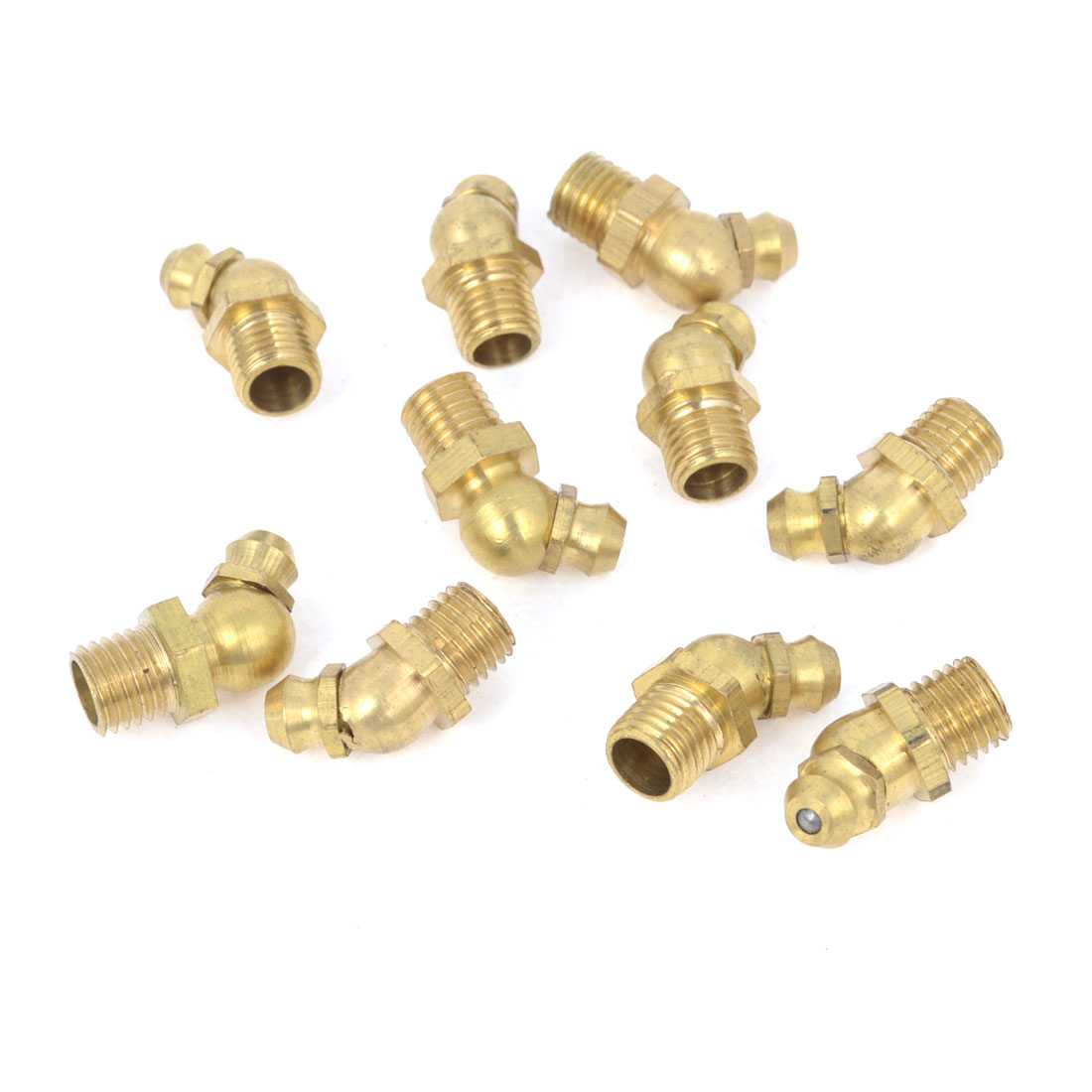 10Pcs M8x1 Thread 45 Degree Angle Hydraulic Grease Nipple Zerk Gold Tone