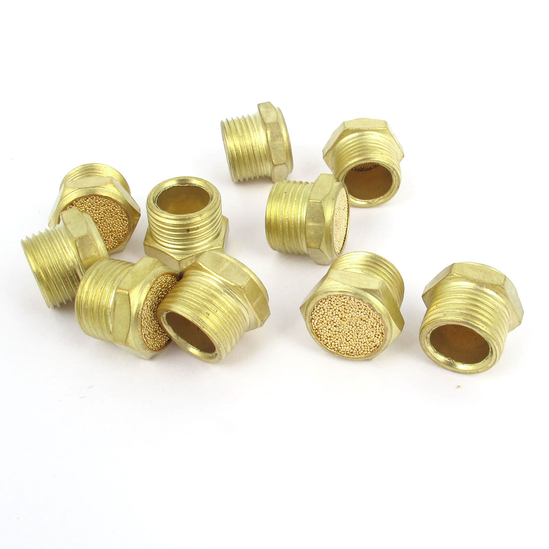 10 Pcs Flat Pneumatic Noise Muffler Filter Sintered Gold Tone 3/8PT Male Thread
