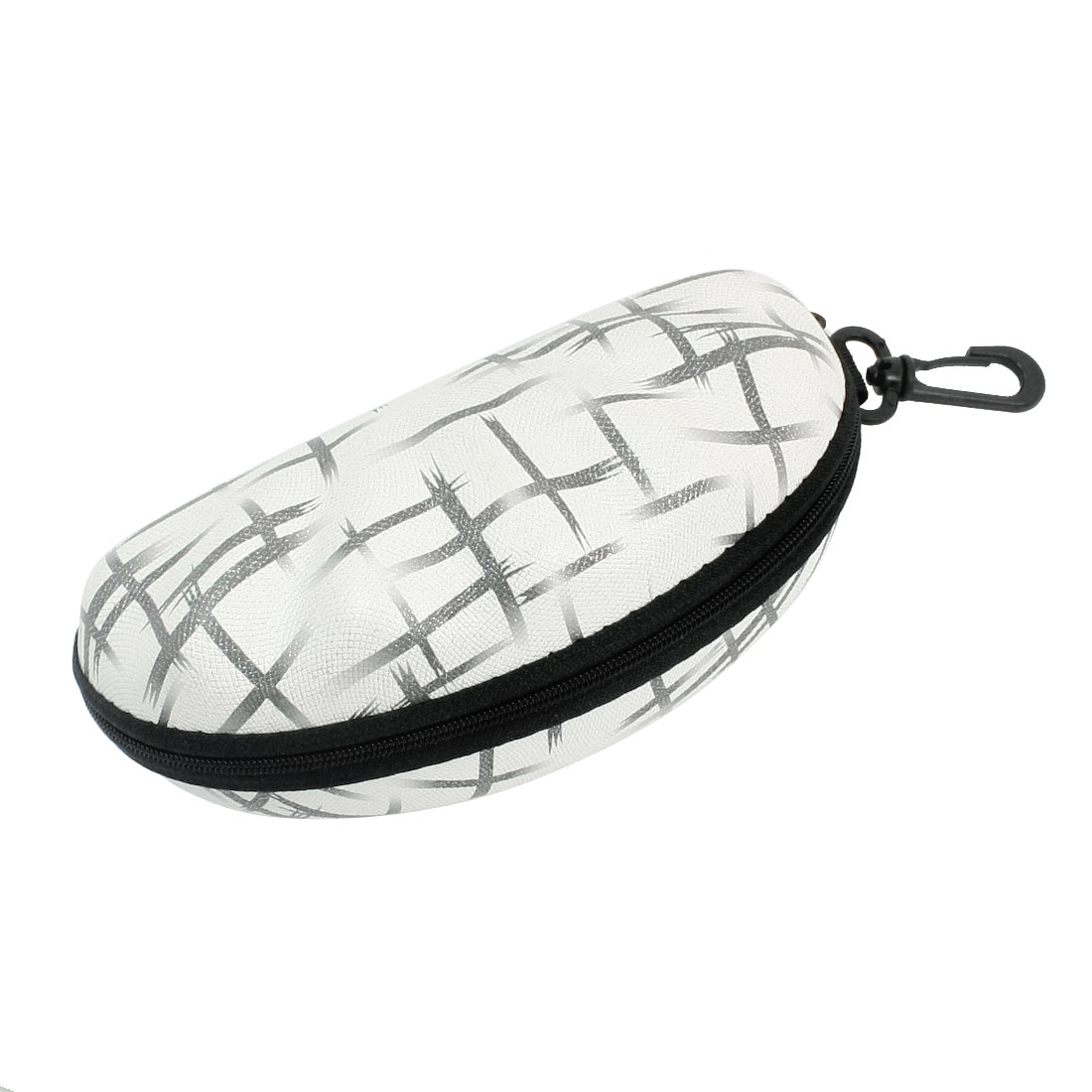 Faux Leather Irregular Pattern Oval Shape Zipper Eyeglasses Case Box Container w Plastic Clasp