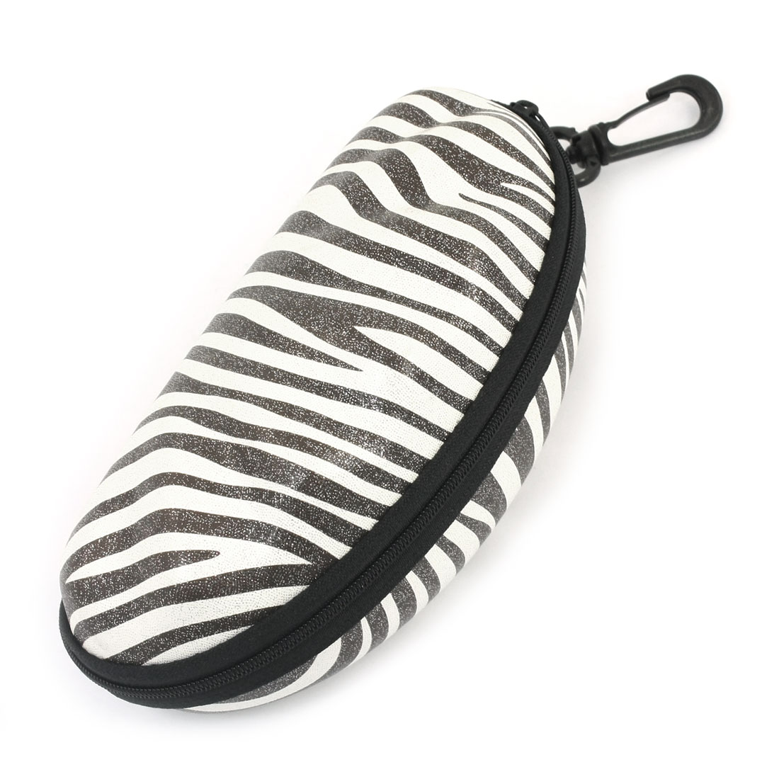 Black White Faux Leather Oval Shape Zipper Eyeglasses Case Box Container w Plastic Clasp