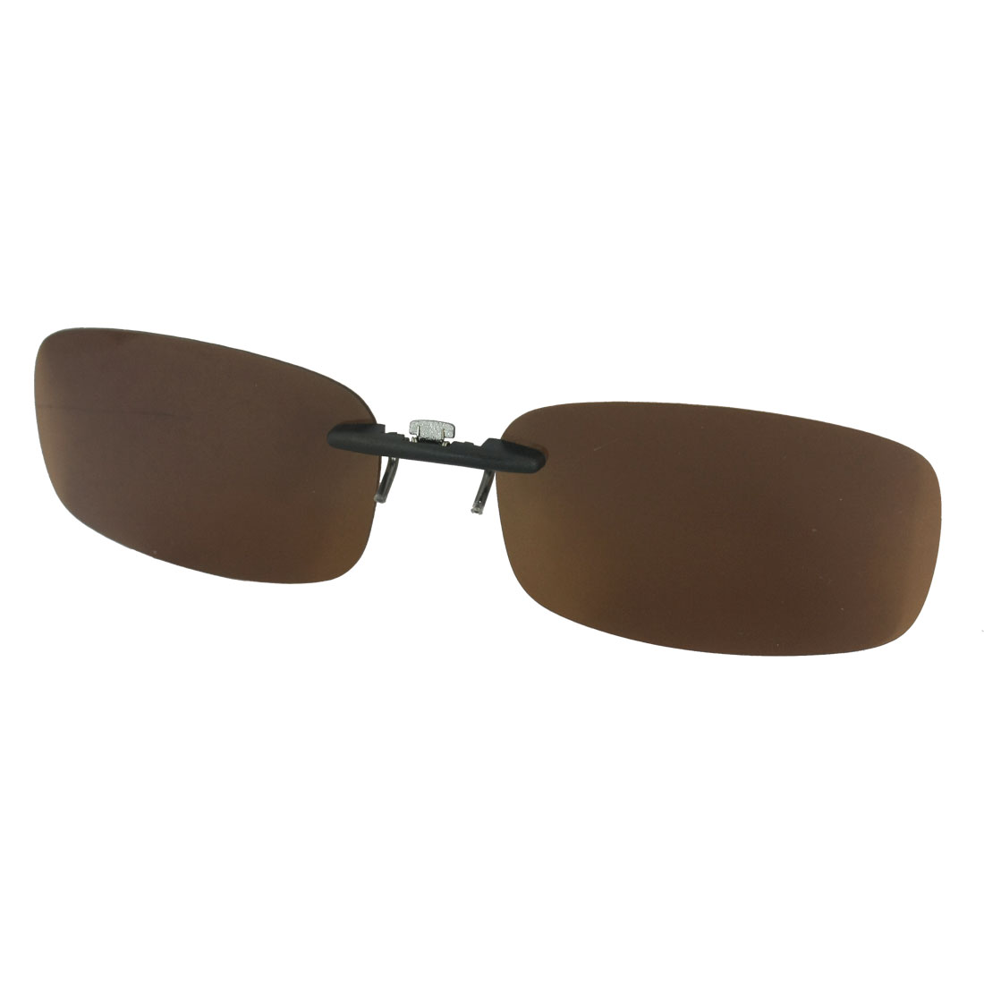 Women Man Hiking Dark Brown Lens Rimless Clip On Polarized Sunglasses