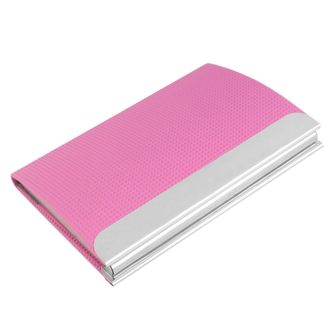 Pink Faux Leather Coated Metal Magnetic Clusure Business Card Holder Case