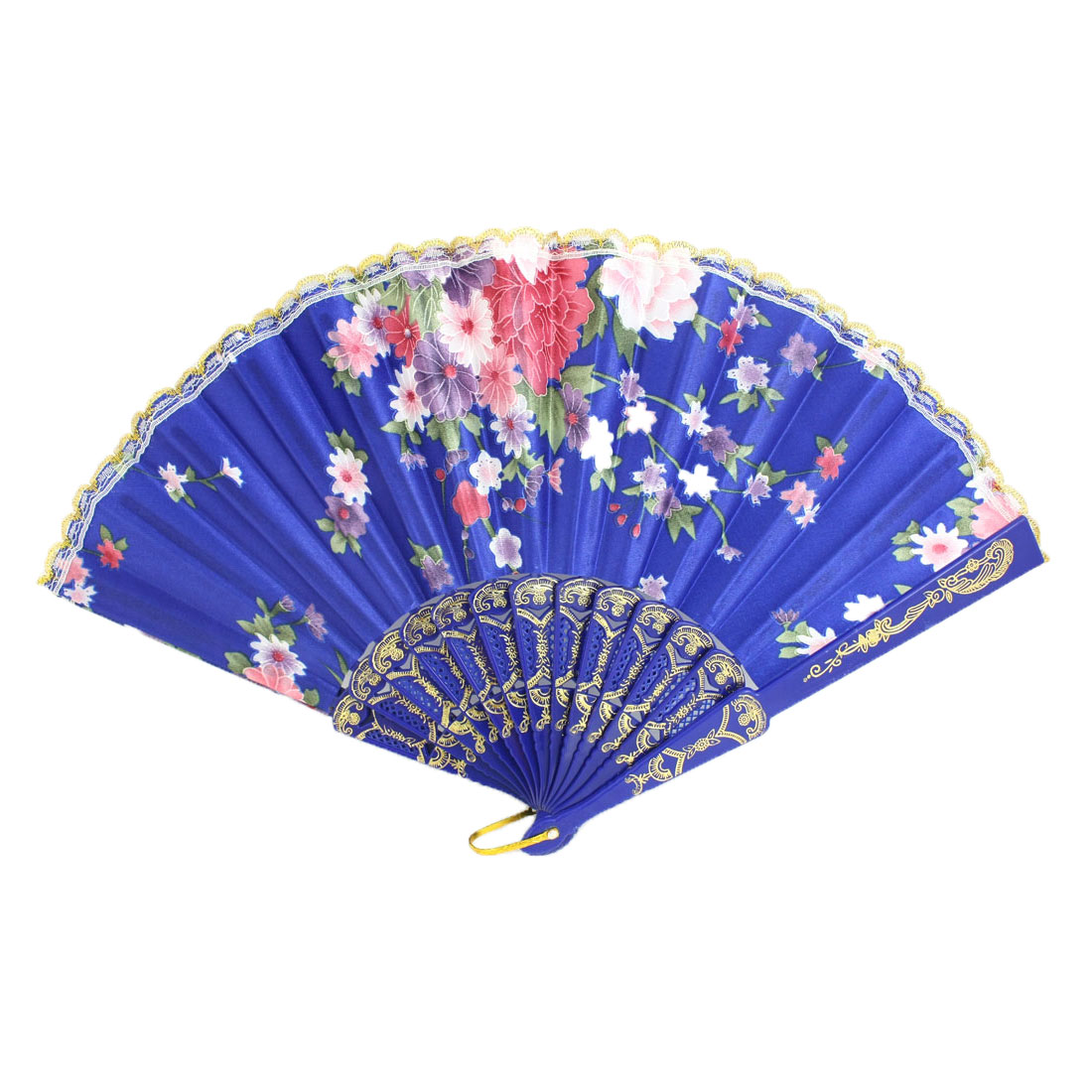 Blue Plastic Frame Flower Pattern Polyester Handheld Folding Fan