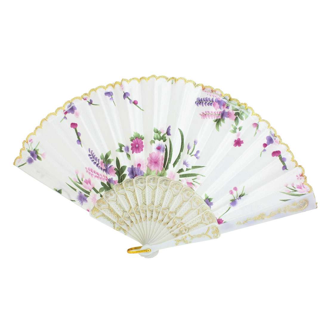 White Plastic Frame Flower Pattern Polyester Handheld Folding Fan