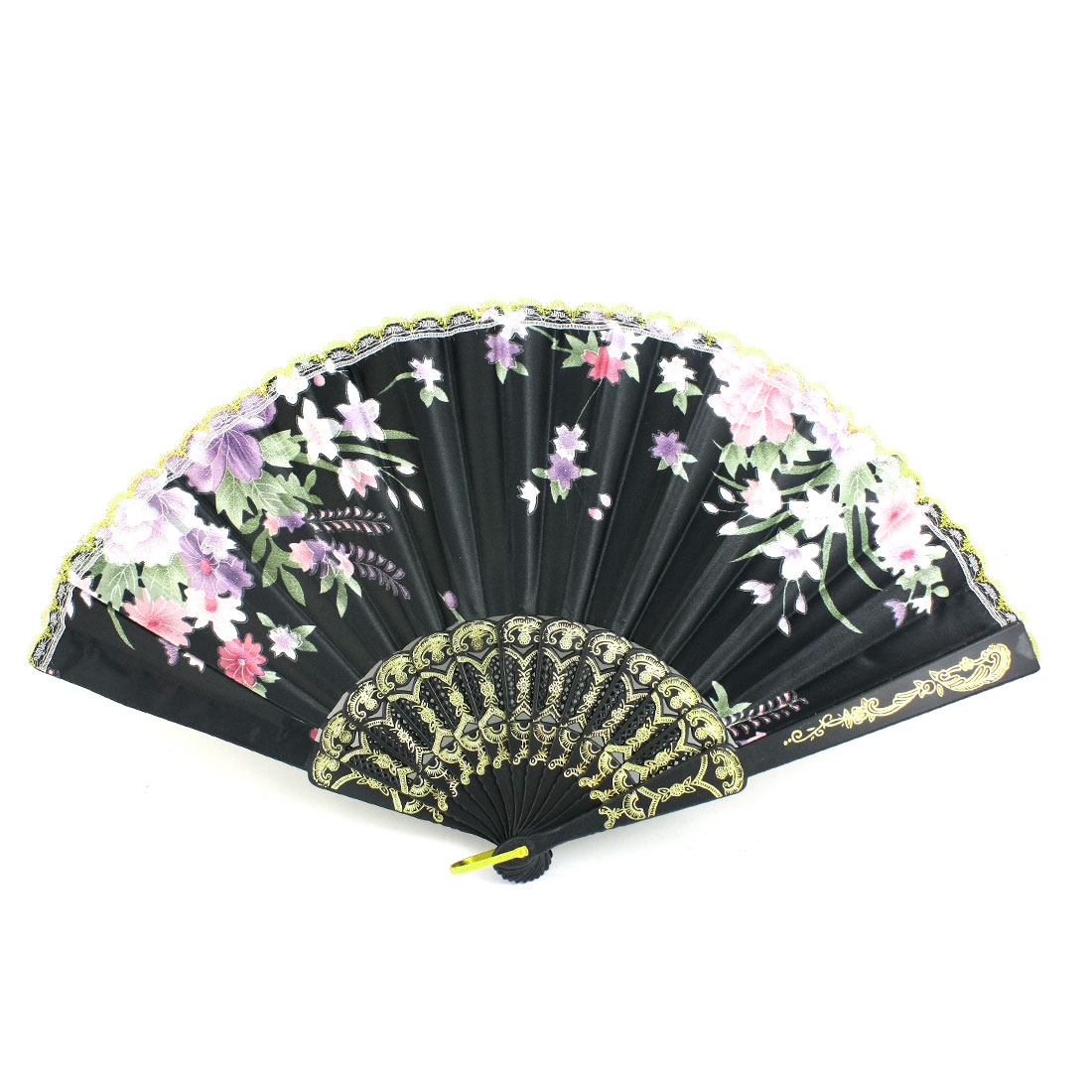 Black Plastic Frame Flower Pattern Polyester Handheld Folding Fan