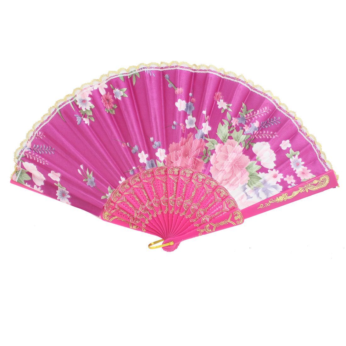Fuchsia Plastic Frame Flower Pattern Polyester Handheld Folding Fan