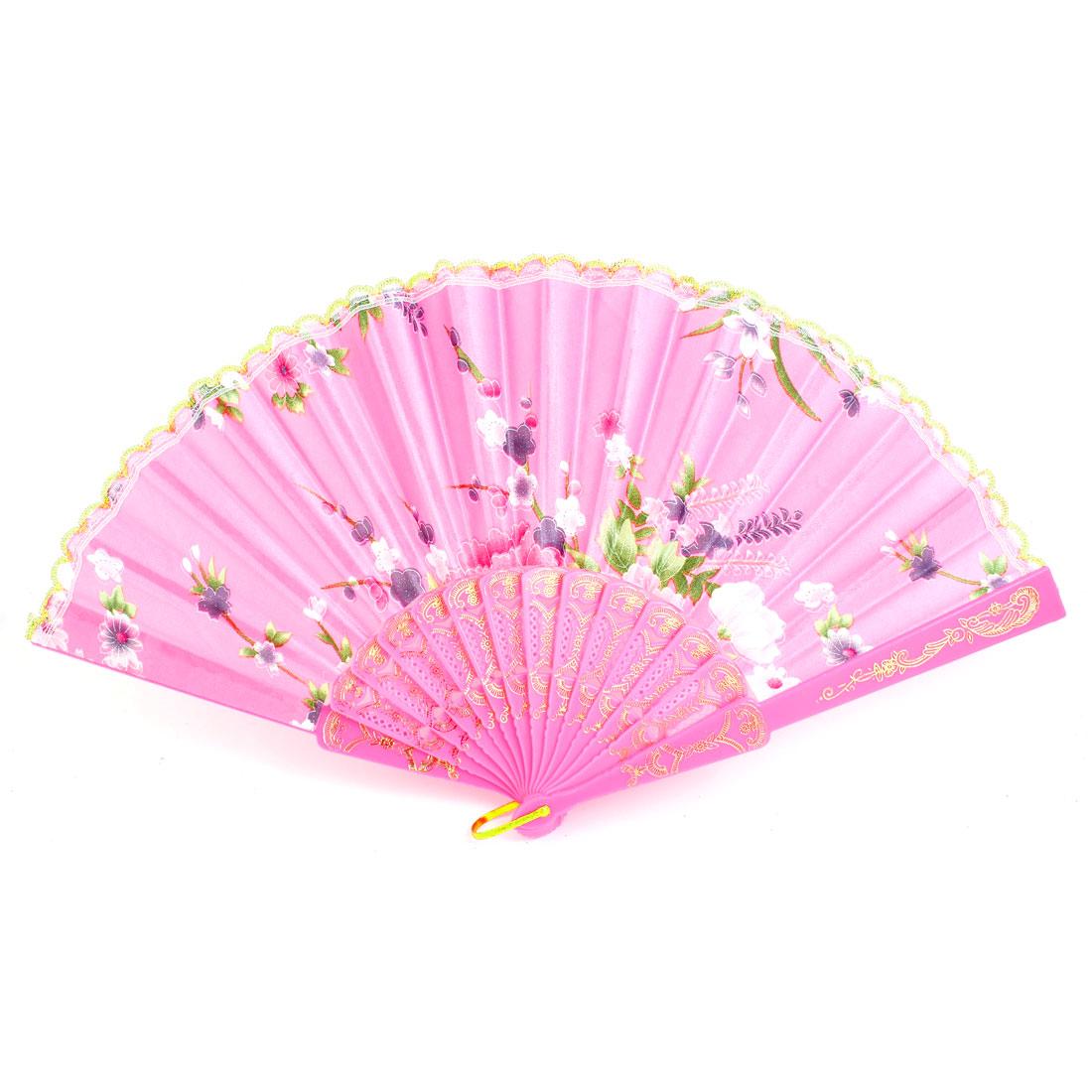 Pink Plastic Frame Flower Pattern Polyester Handheld Folding Fan