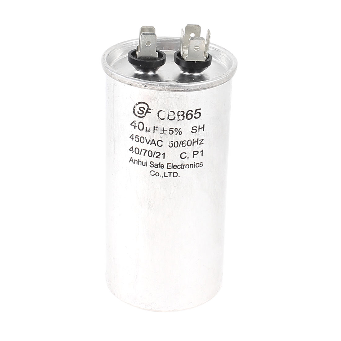 AC 450V 40uF 5% 50/60Hz 6 Terminals Cylinder Shaped Air Conditioner Motor Run Capacitor CBB65 Silver Tone