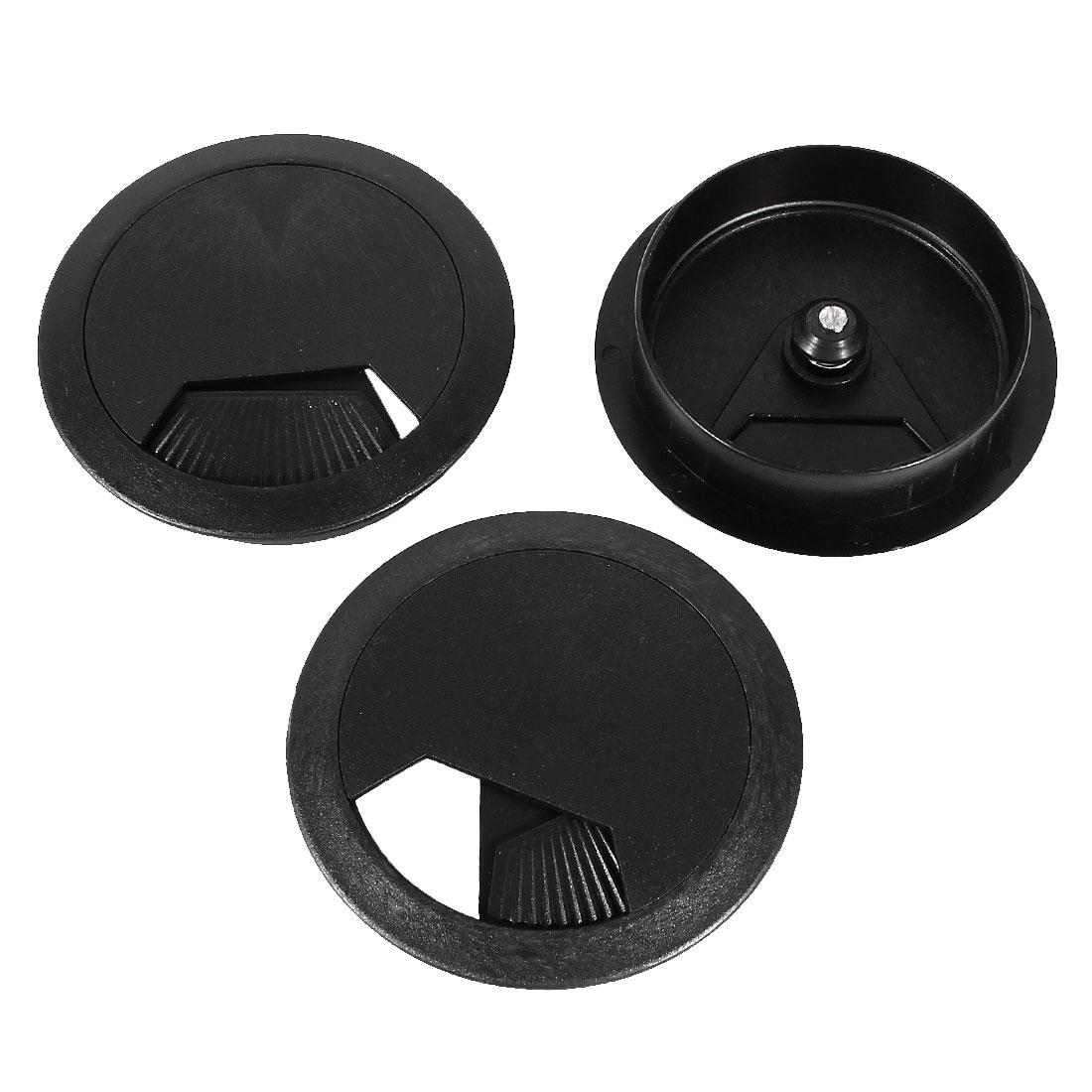 PC Desk Black Plastic 60mm Diameter Grommet Cable Hole Cover 3 Pcs