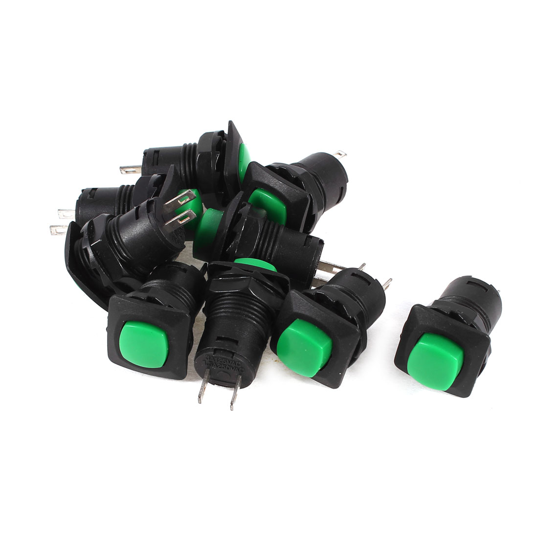 9 Pcs DS-426 AC 125V/250V 3A/1.5A Momentary Green Push Button Switch