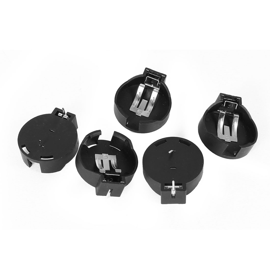 5 Pcs 3V CR2450/2430 Coin Cell Button Battery Holder Socket Black