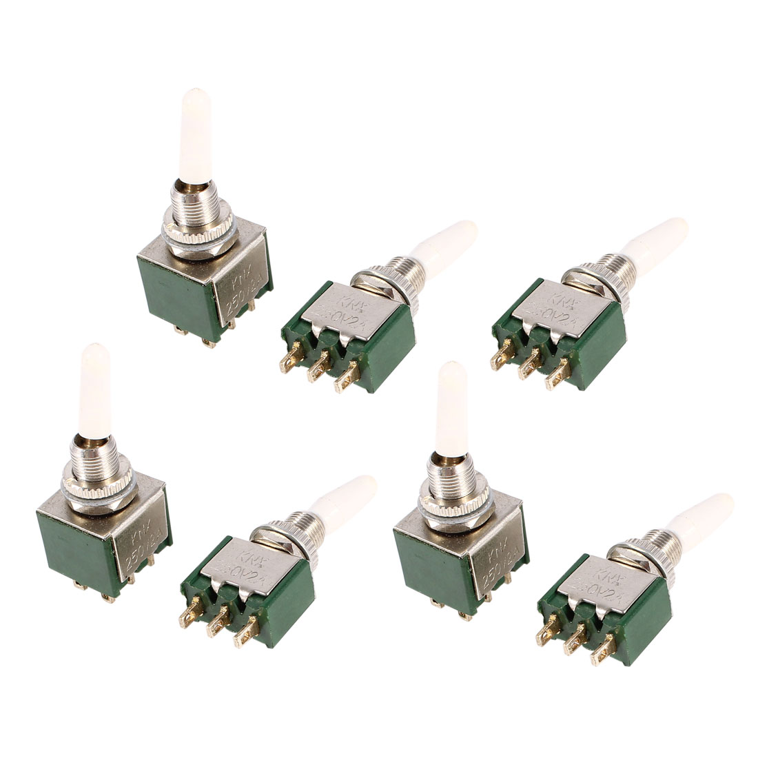 7 Pcs AC250V 2A SPDT 1NO 1NC 3 Pins 2 Positions Toggle Switch Green