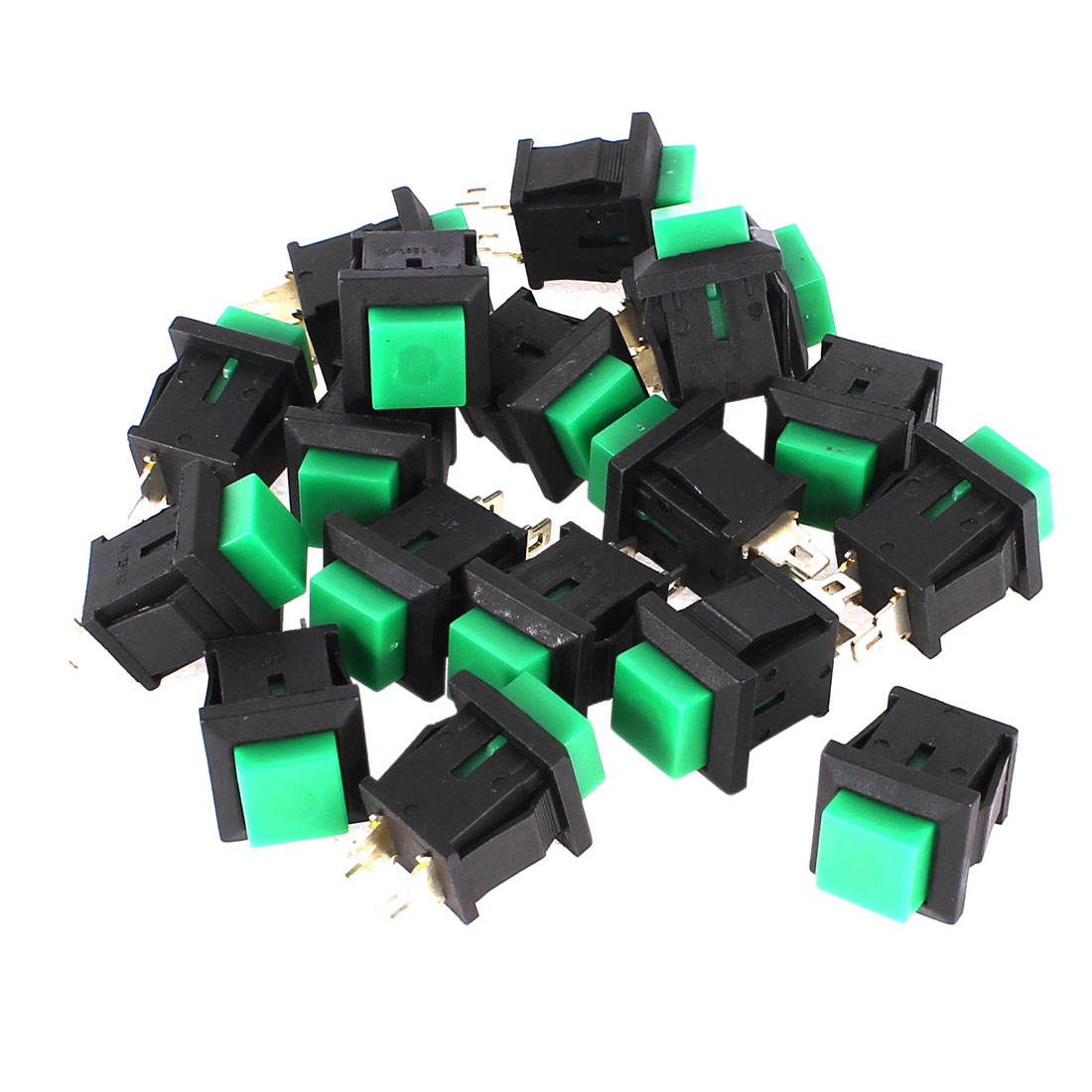 18 Pcs Momentary SPST Green Square Head Push Button Switch AC 125V 1A