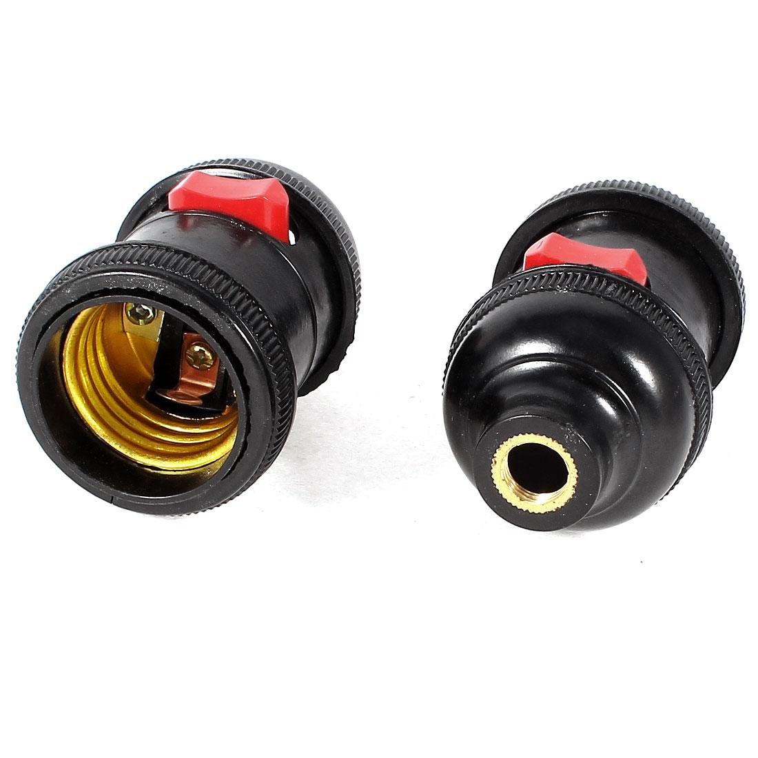 2 Pcs E27 Light Bulb Socket Holder Adapter AC 250V 10A Black Gold Tone