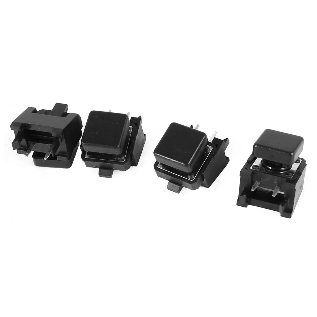 4 Pcs Black Square Cap Pushbutton Tactile Tact Switch 2 Terminal DIP