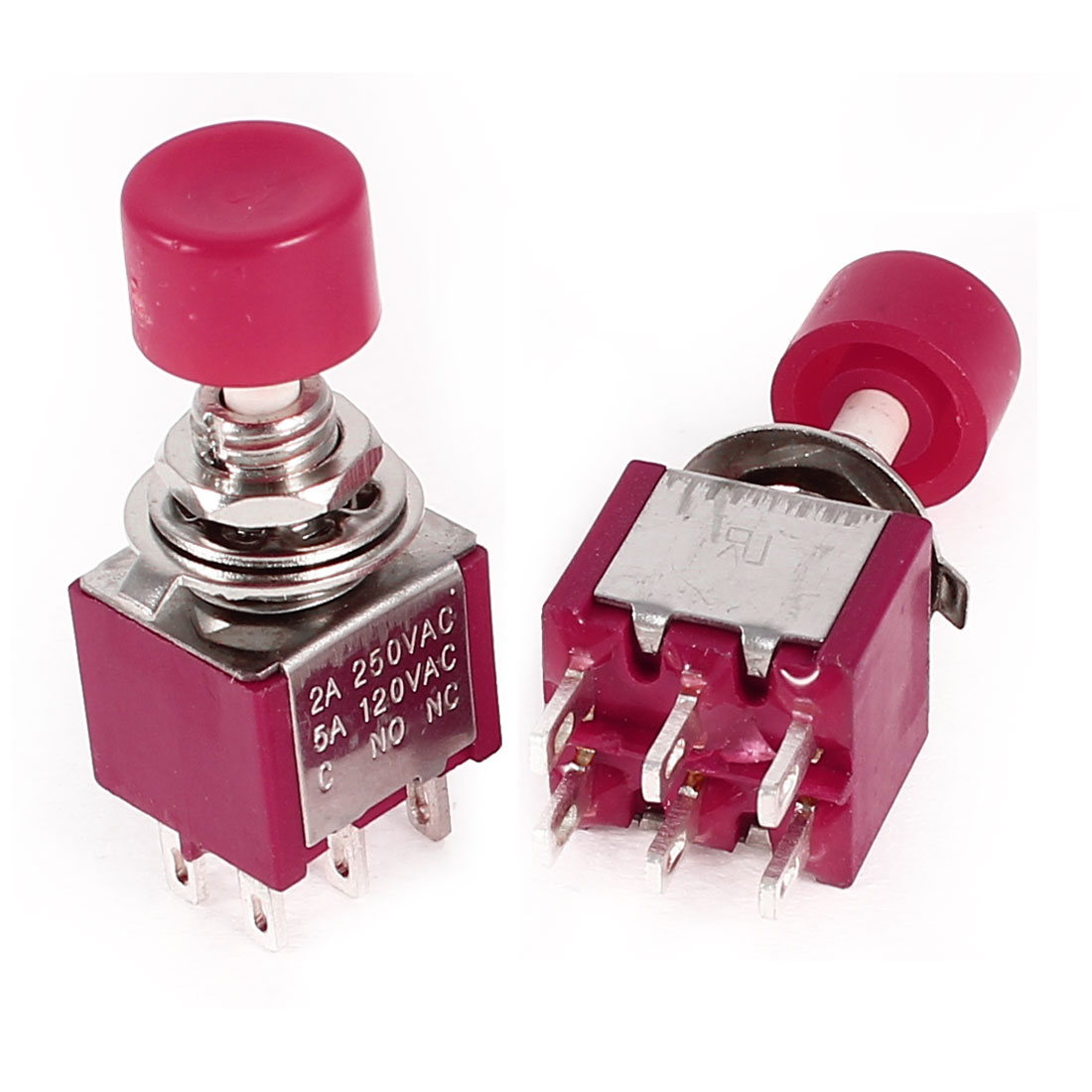 2 Pcs AC 250V/120V 2A/5A SPDT 1NO 1NC 6 Pins 2 Positions Toggle Switch Red