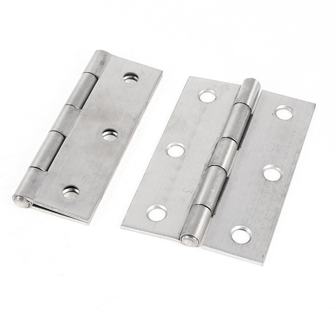"2 Pcs Screws Mounted Silver Tone Cabinet Door Butt Hinges 3"" Long"