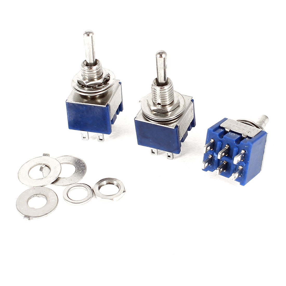 3pcs On/Off/On DPDT 6 Terminals Mini Latching Toggle Switch AC 125V 6A