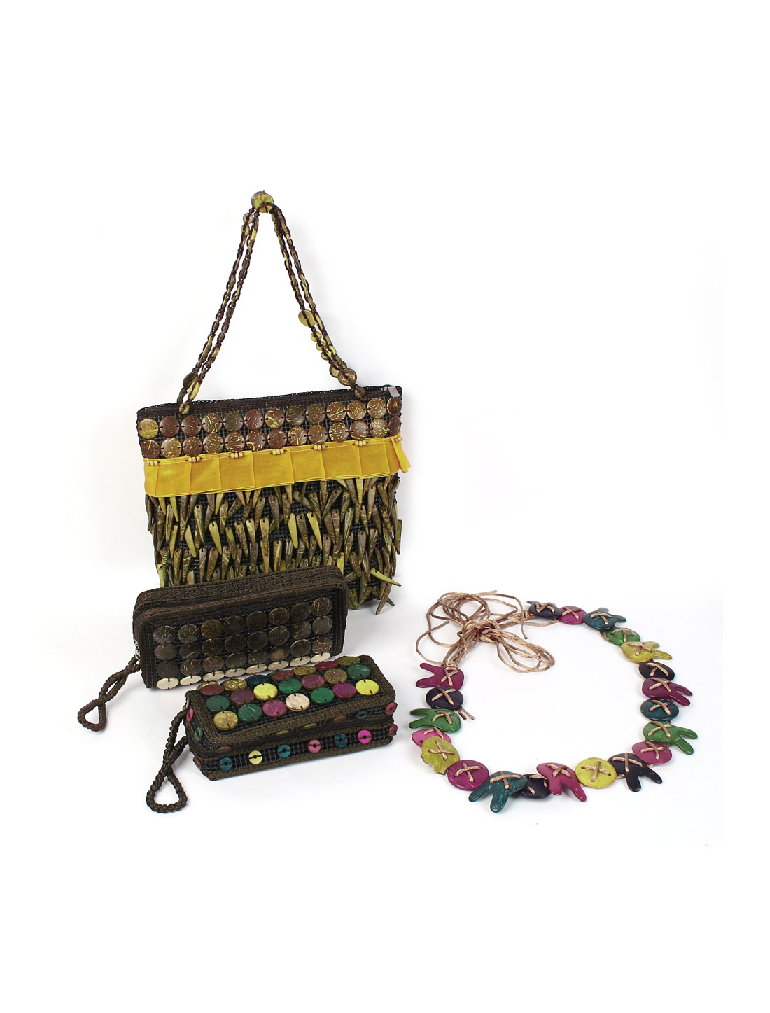 Multicolor Coconut Shell Wood Beads Decor Handbag Purse Waist Chain 4 in 1 Set