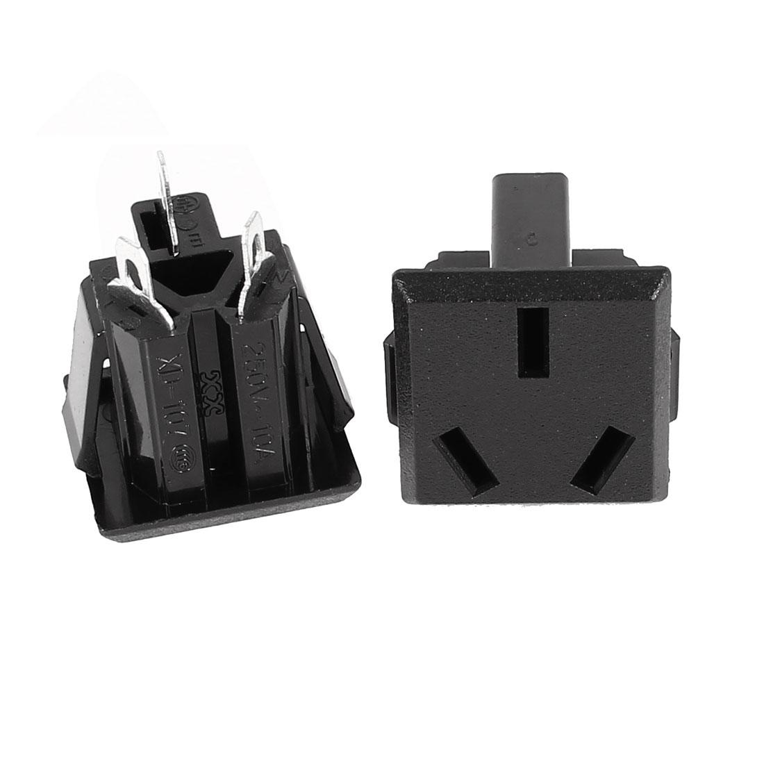2 Pcs Square Shaped AU 3 Terminals Power Socket Adapter AC 250V 10A