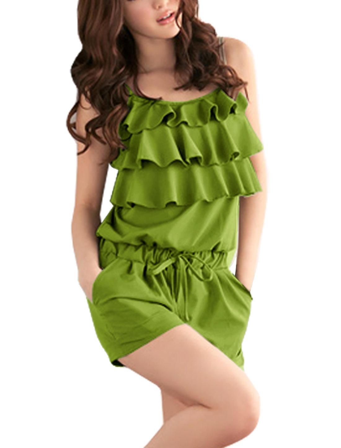 Ladies Drawstring Elastic Waist Sleeveless Green Romper 1X