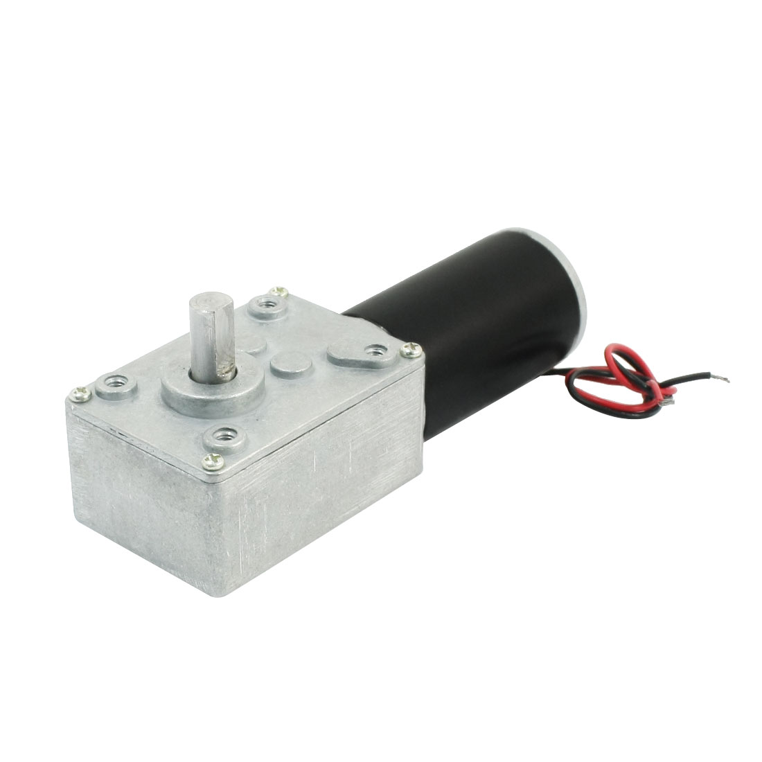 19cm Long Dual Wire Leads 7mm Shaft Reduction Ratio 8000RPM/80RPM Speed Reduce Worm Geared Box Motor DC24V