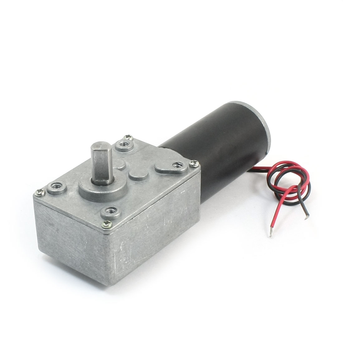 19cm Long Dual Wire Leads 7mm Shaft Reduction Ratio 8000/240RPM Rotary Speed Reduce High Torque Worm Geared Box Motor DC24V