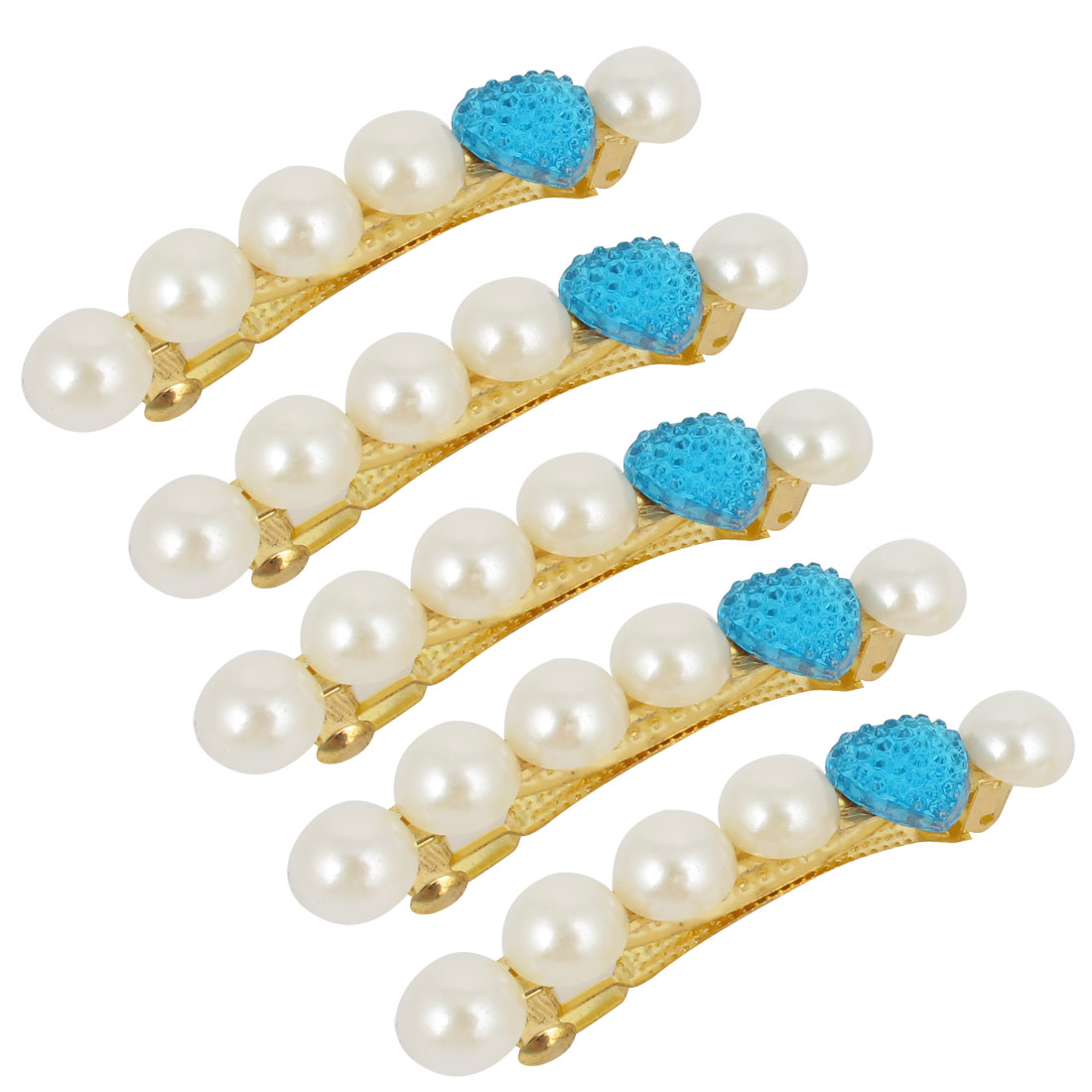5 Pcs Faceted Plastic Beads Inlay Decoration French Clip Barrette for Women
