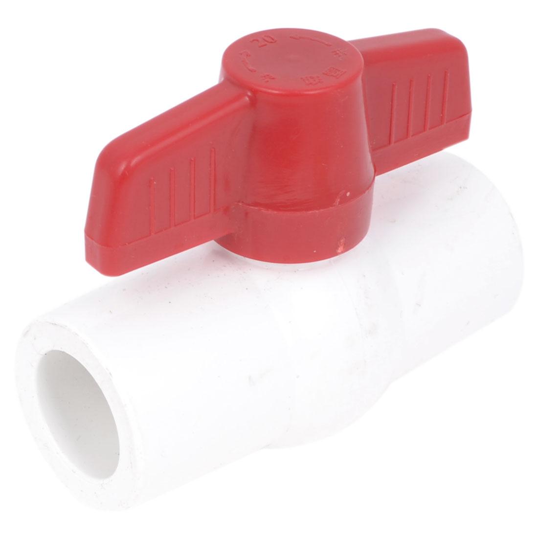 Plumbing 20mm Slip x 20mm Non-Slip Red T Handle White Full Port PVC-U Ball Valve Socket