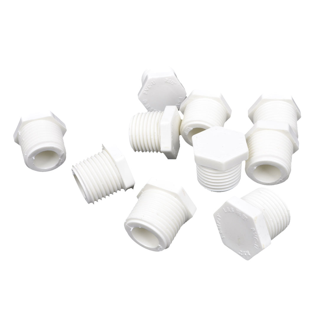 10 Pcs 1/2 PT Thread White Plastic Hex Head Screwed Pipe Fitting for Water Pipeline