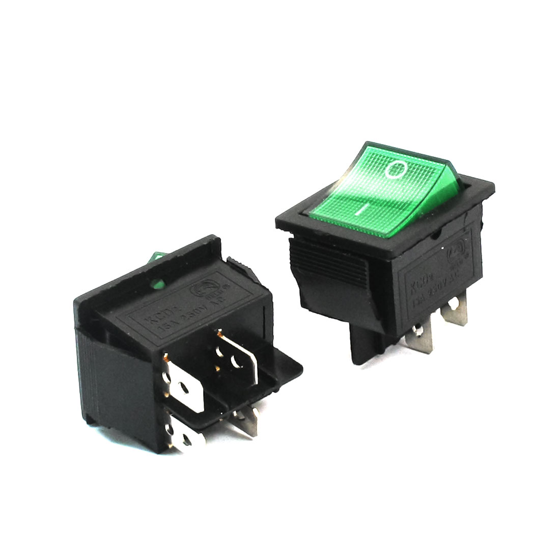 2pcs DPST ON/OFF 4 Pins Green Button Snap in Rocker Switch AC250V 15A