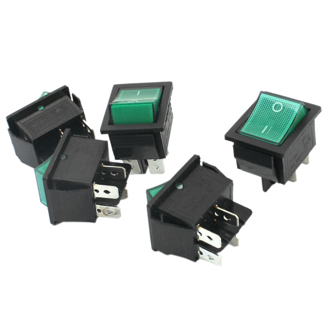 5 PCS AC250V 15A DPST ON-OFF 4 Terminals Green Button Snap in Rocker Switch