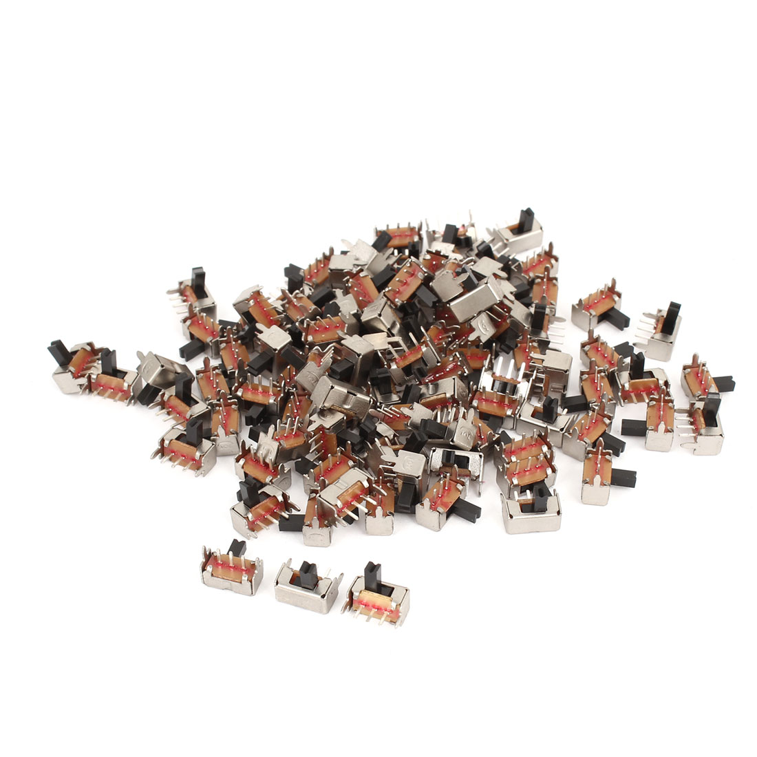 100 Pcs AC 250V 3A 3Pin 2Position PCB Mount SPDT Right Angle Miniature Slide Switch