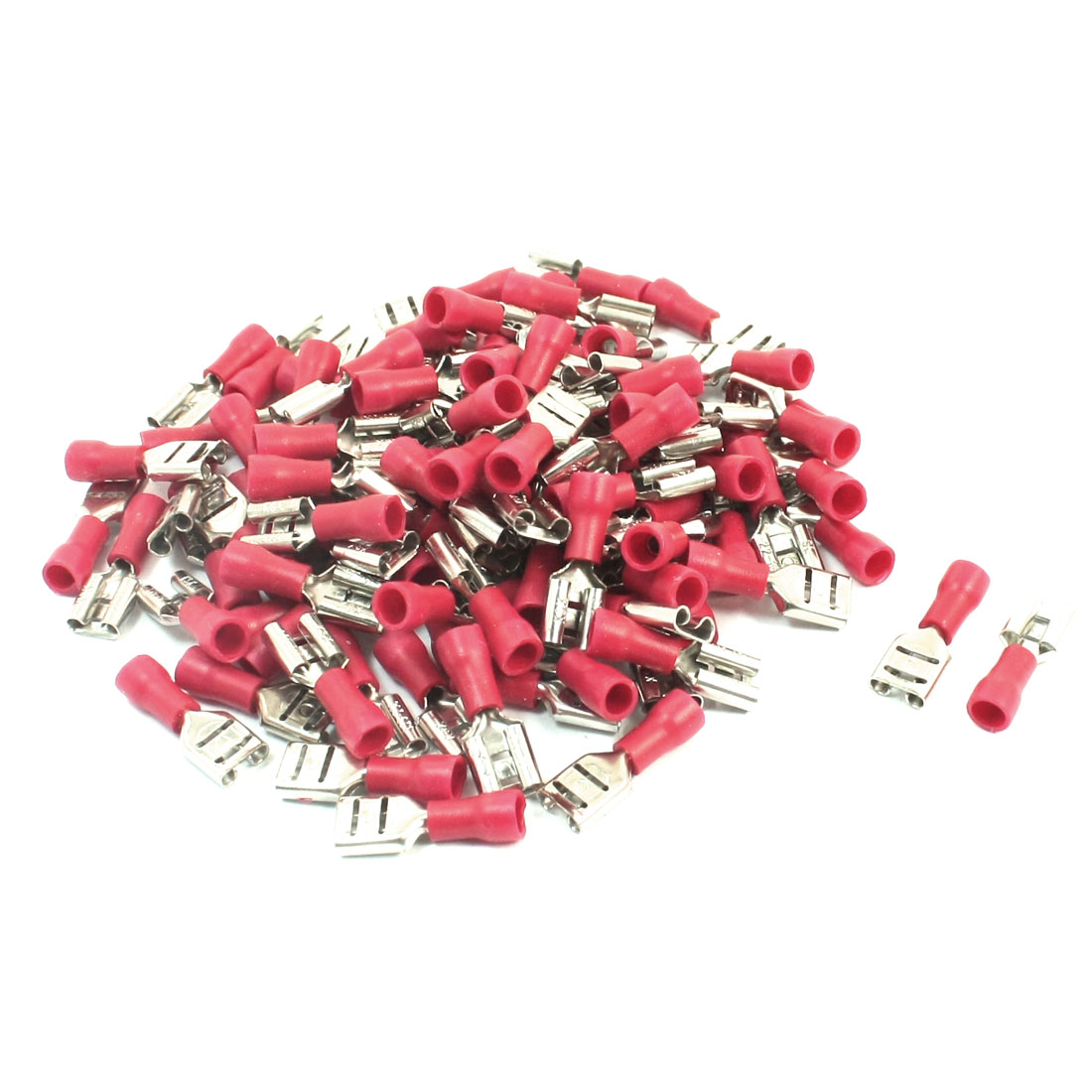 100 Pcs FDD1.25-250 22-16AWG Wire Cable Connect Red PVC Sleeve Rewirable Semi Insulated Female Crimp Terminal Connector
