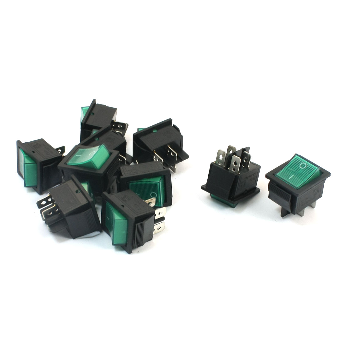 10pcs DPST ON/OFF 2Position 4Pins Green Button Snap in Boat Rocker Switch AC 250V 15A