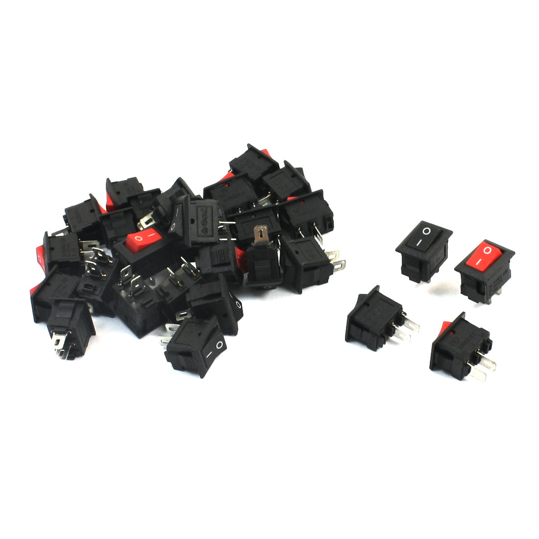 30Pcs AC250V 3A AC125V 6A 2 Terminals 2P ON/OFF SPST Snap in Rectangle Boat Rocker Switch