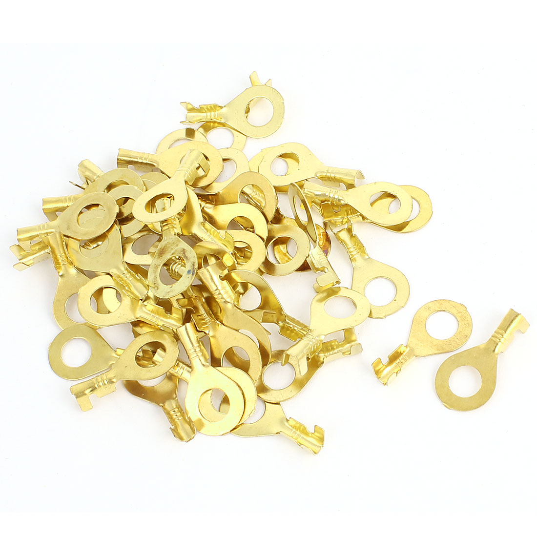 50Pcs 17Amp M6 Stud AWG9-3mm Wire Cable Connecting Copper Tongue Rewirable Non-insulated Ring Terminals