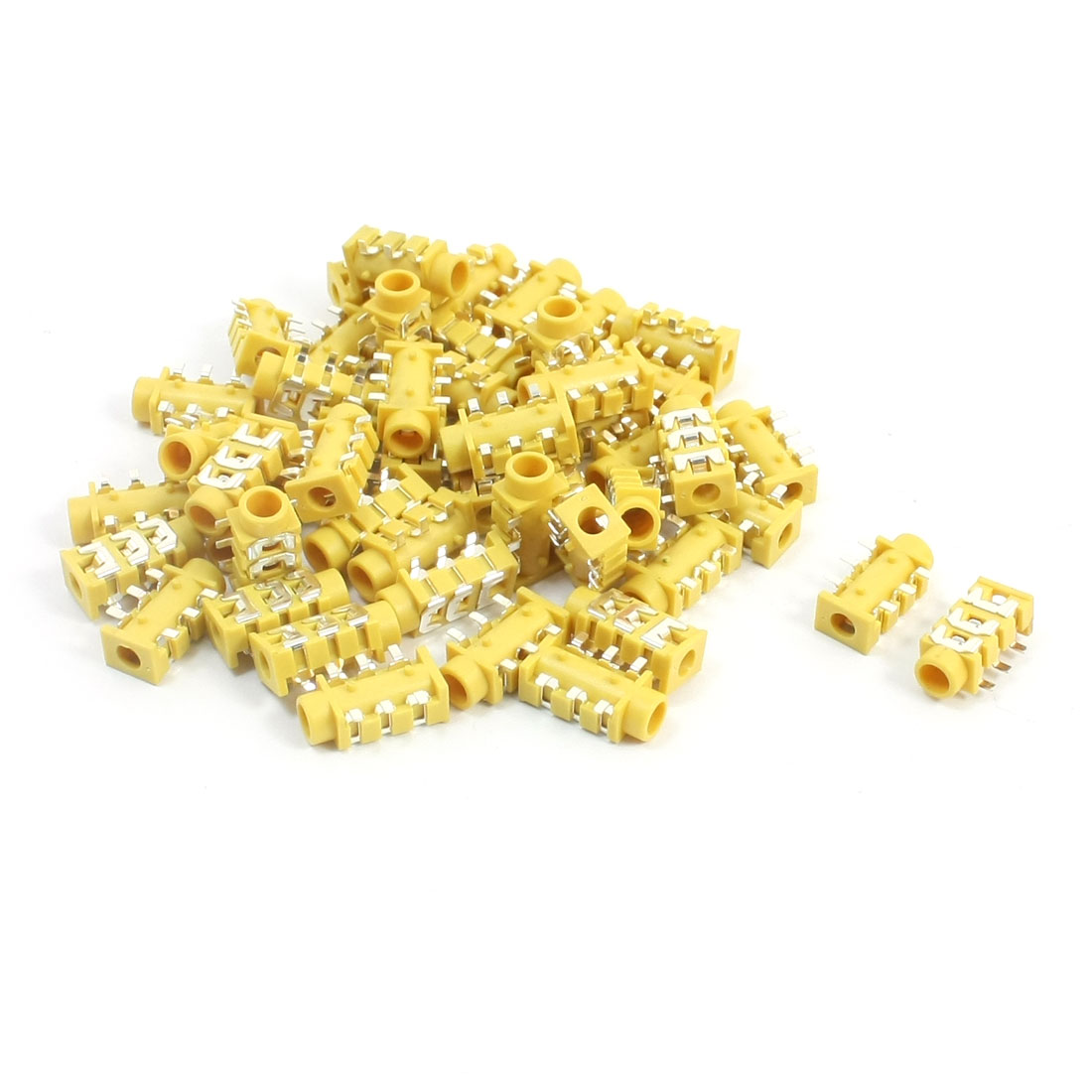 50Pcs 6 Soldering Pins 3.5mm SMD Stereo Jack PCB Mount Female Connector Socket Yellow for Earphone Headphone
