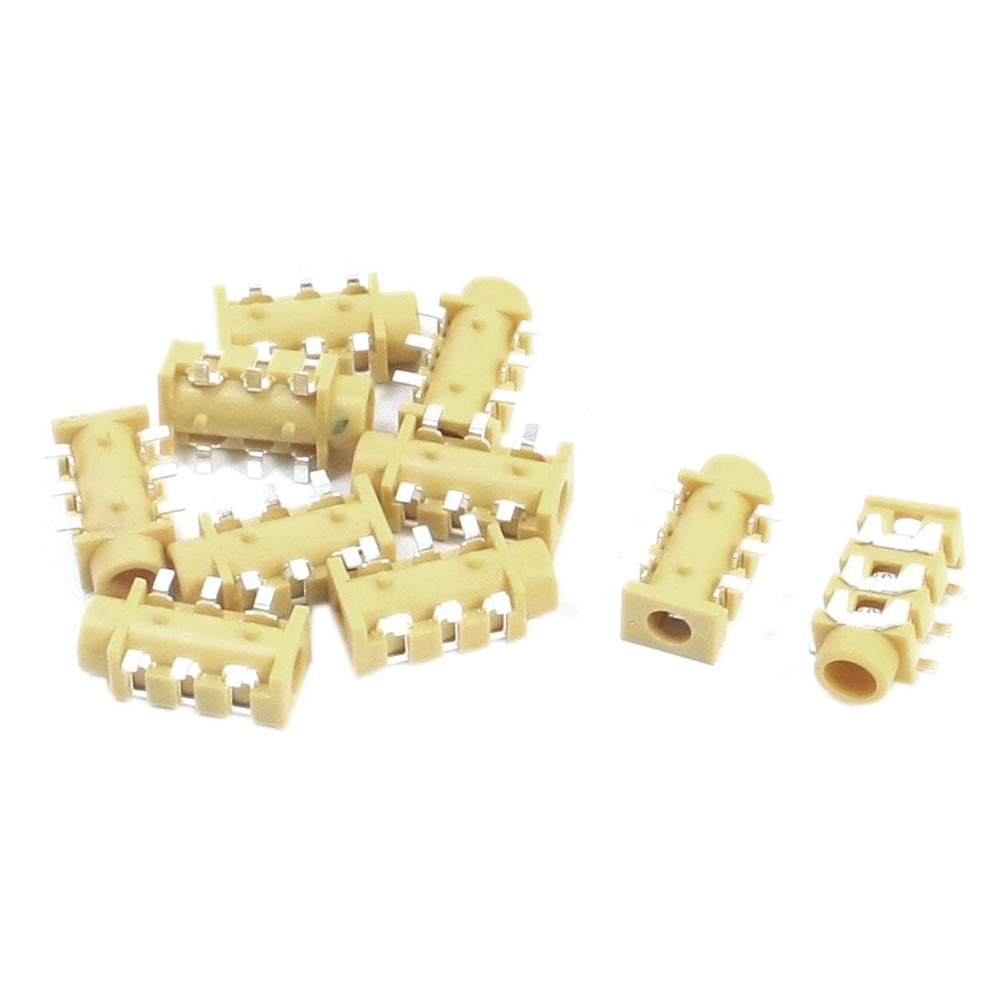10pcs 6 Soldering Pins 3.5mm Female SMD Stereo Jack PCB Mount Connector Socket Yellow for Earphone Headphone