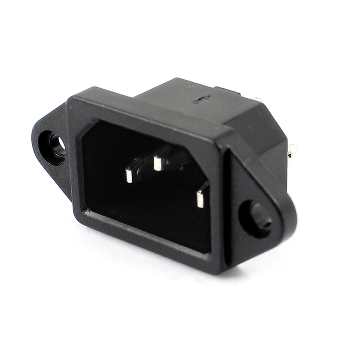AC 250V 10A Pannel Mounted C14 3 Terminals Male Inlet Power Socket Black