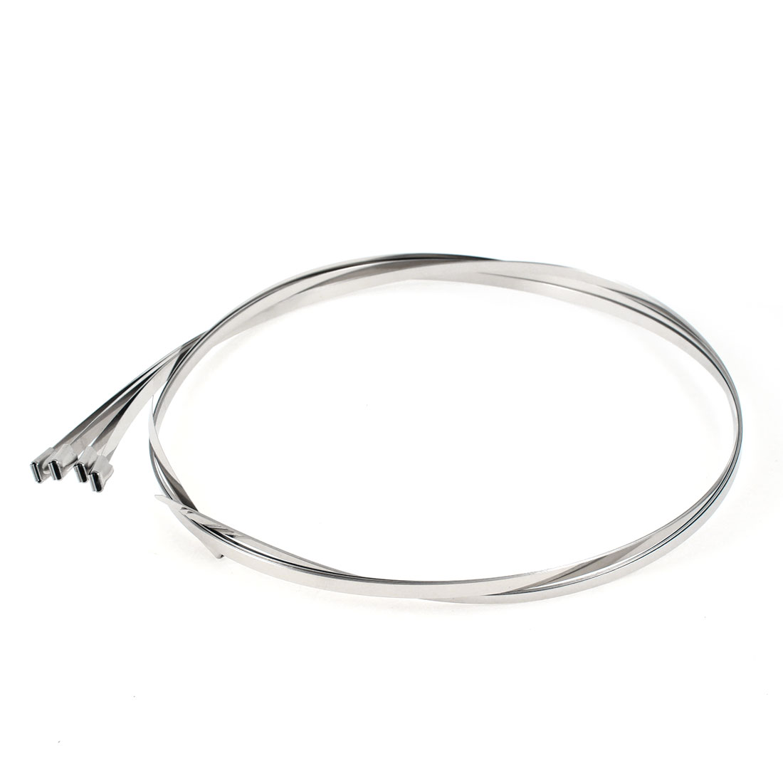 "5pcs 43.3"" Length 4.6mm Width Stainless Steel Sprayed Cable Tie Band Clamp"