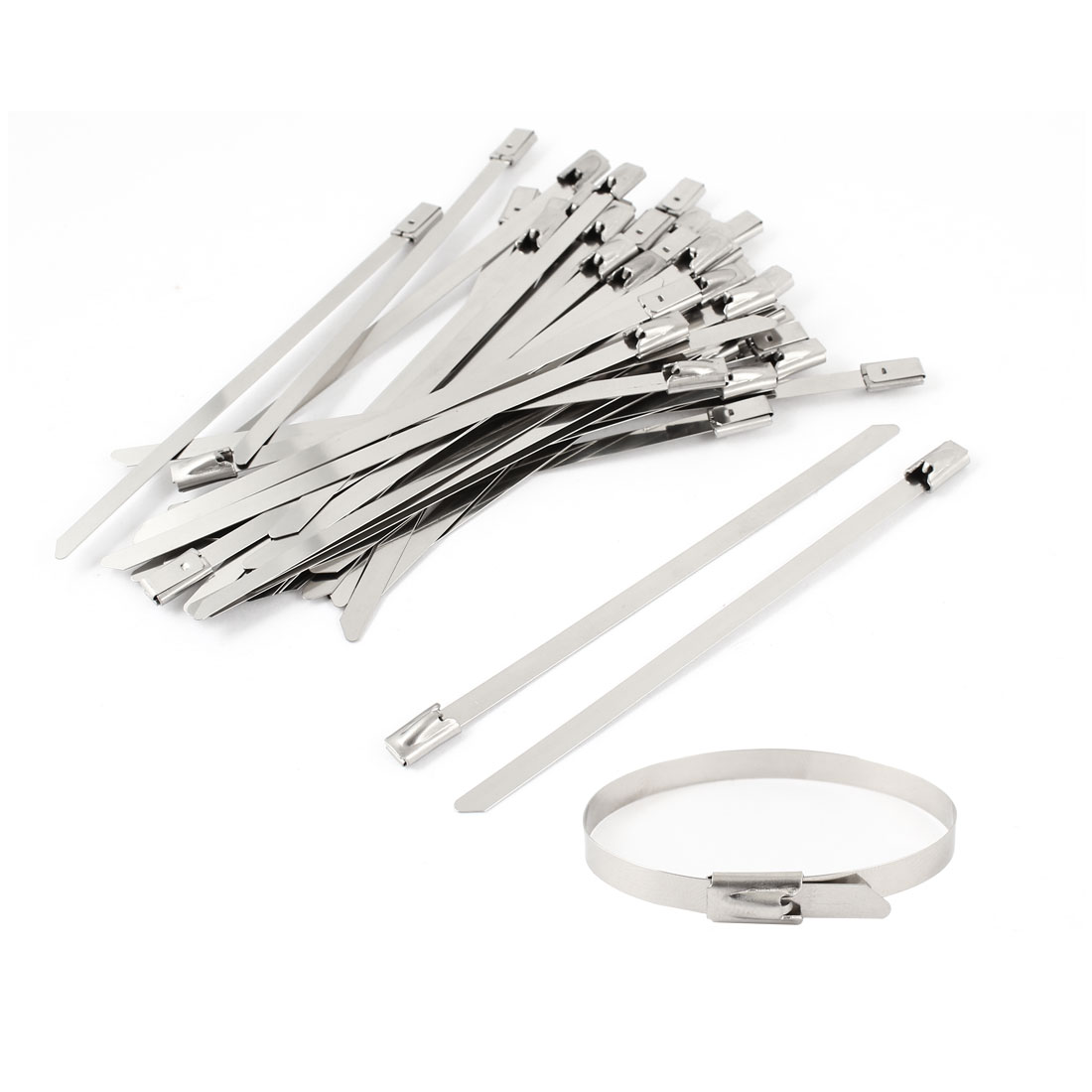 "50pcs 3.9"" Long 4.6mm Width Stainless Steel Sprayed Cable Tie Band Clamp"