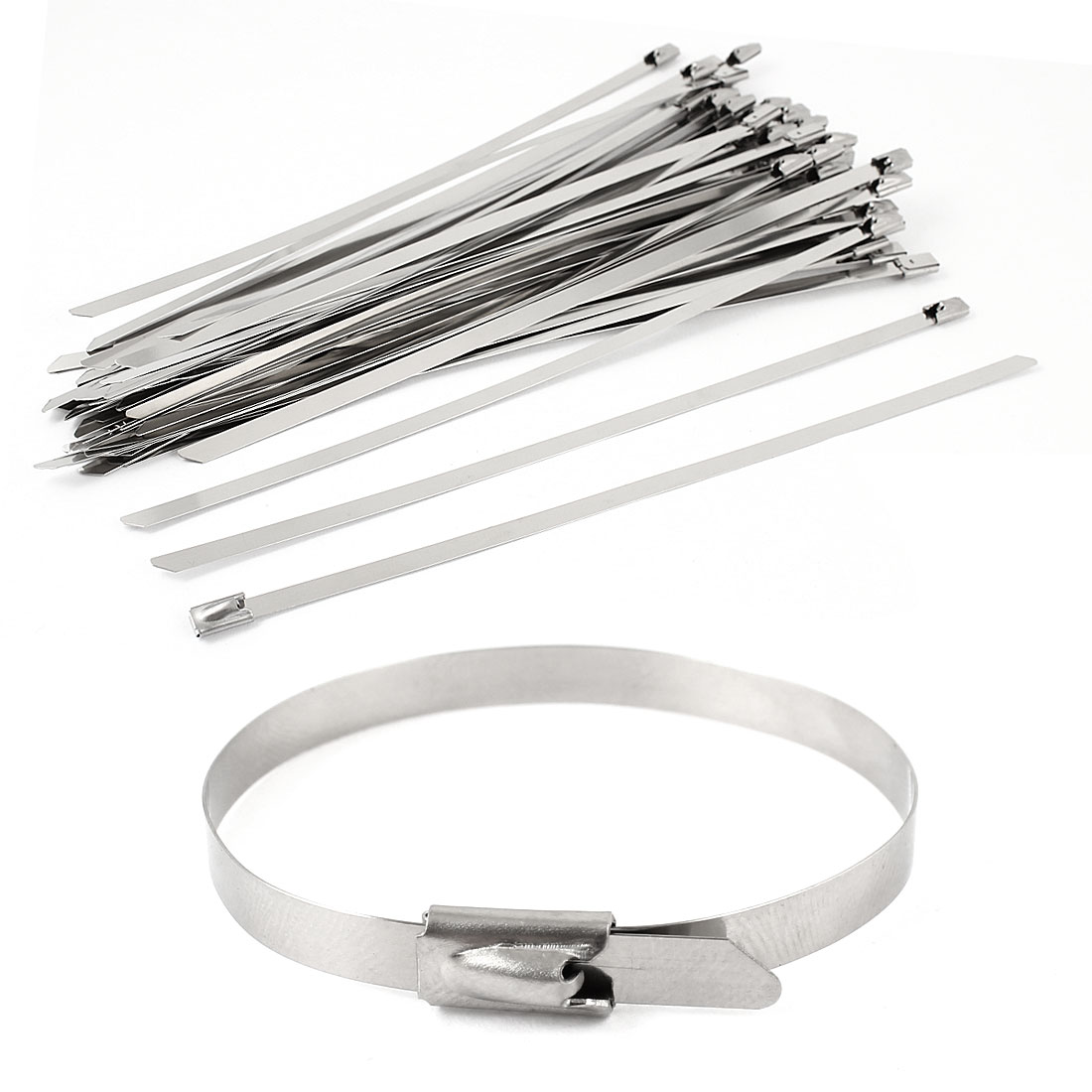 "50pcs 7.9"" Long 4.6mm Width Stainless Steel Sprayed Cable Tie Band Clamp"