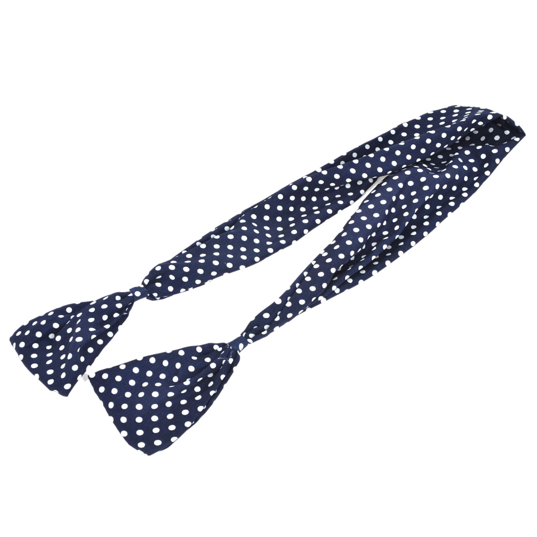 White Dots Pattern Chiffon Wrapped Wired Bunny Ear Headwrap Dark Blue for Ladies