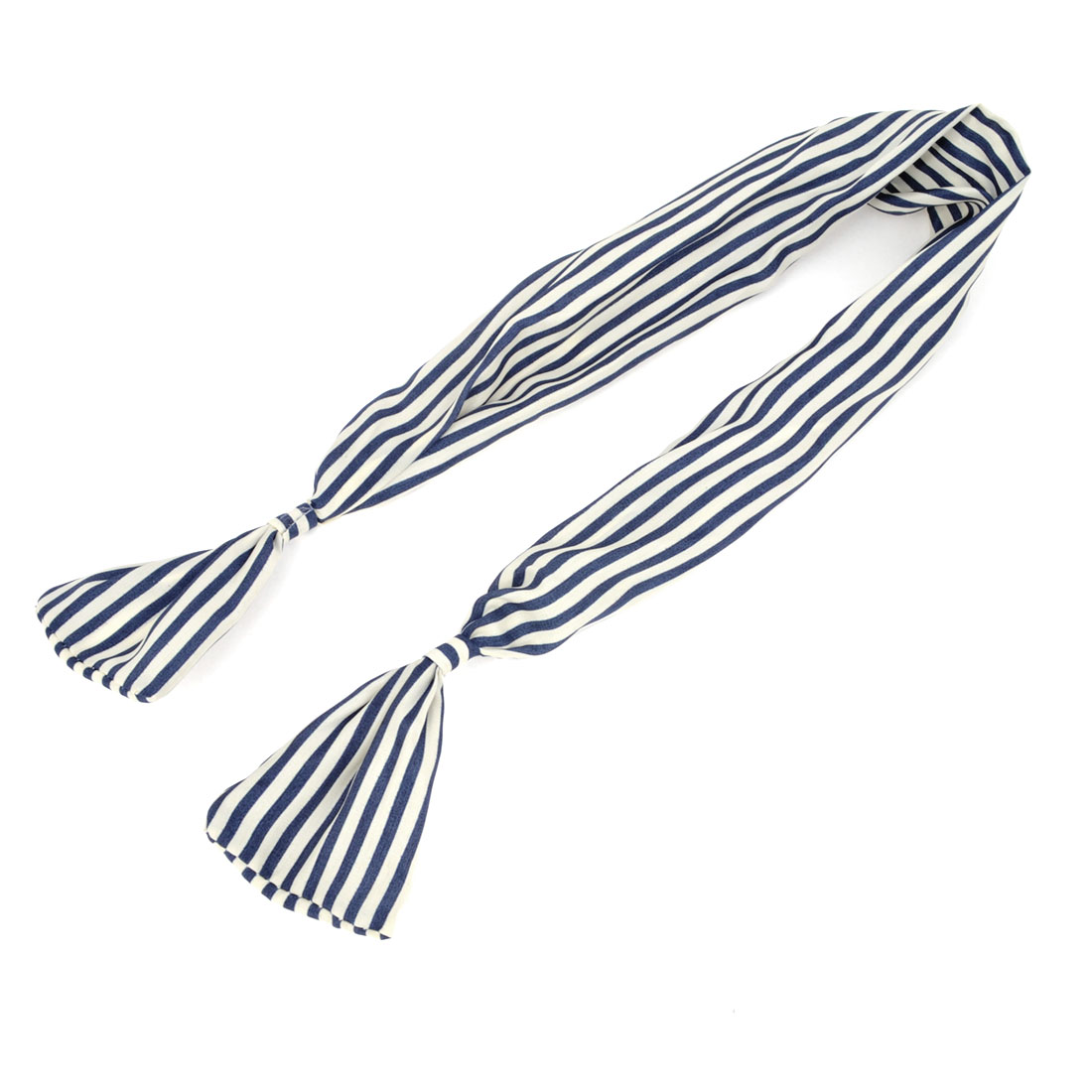 Dark Blue White Streak Pattern Foldable Bunny Ear Hair Band Headwrap for Ladies