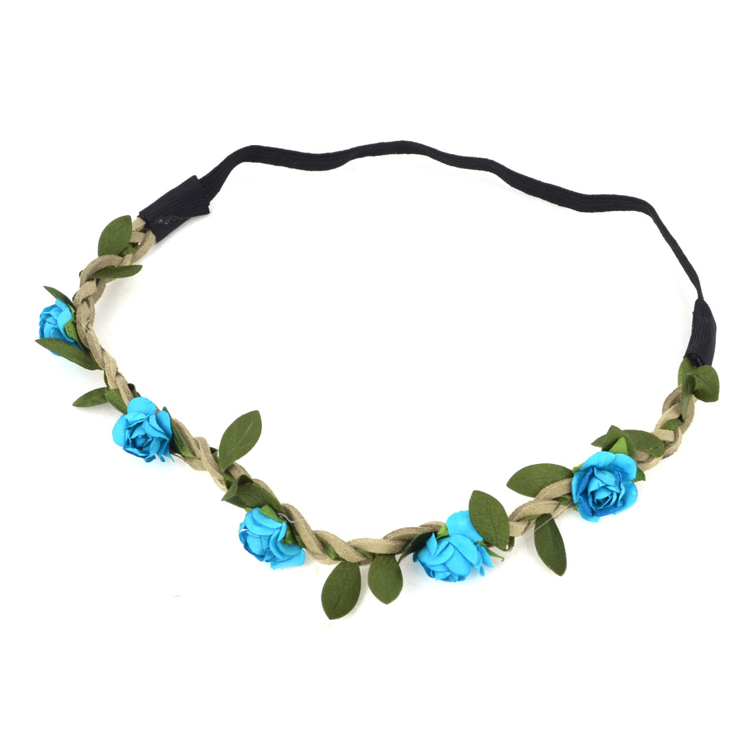 Ladies Hairdressing Blue Flowers Detailing Elastic Braided Headwear Headband