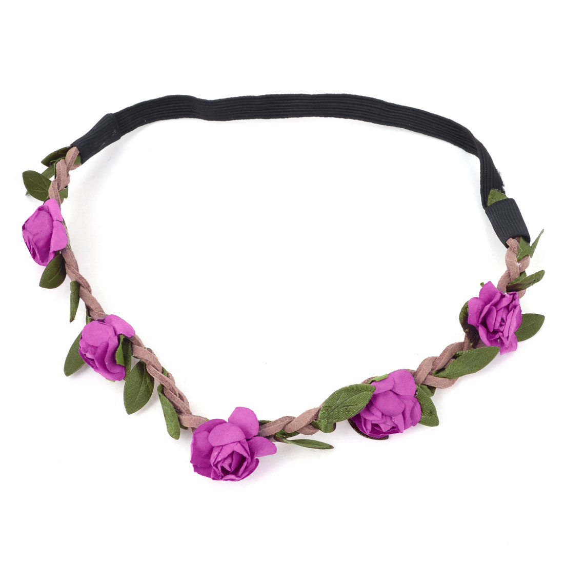 Ladies Hairstyle Fuchsia Flower Accent Elastic Fiber Braided Headwear Headband