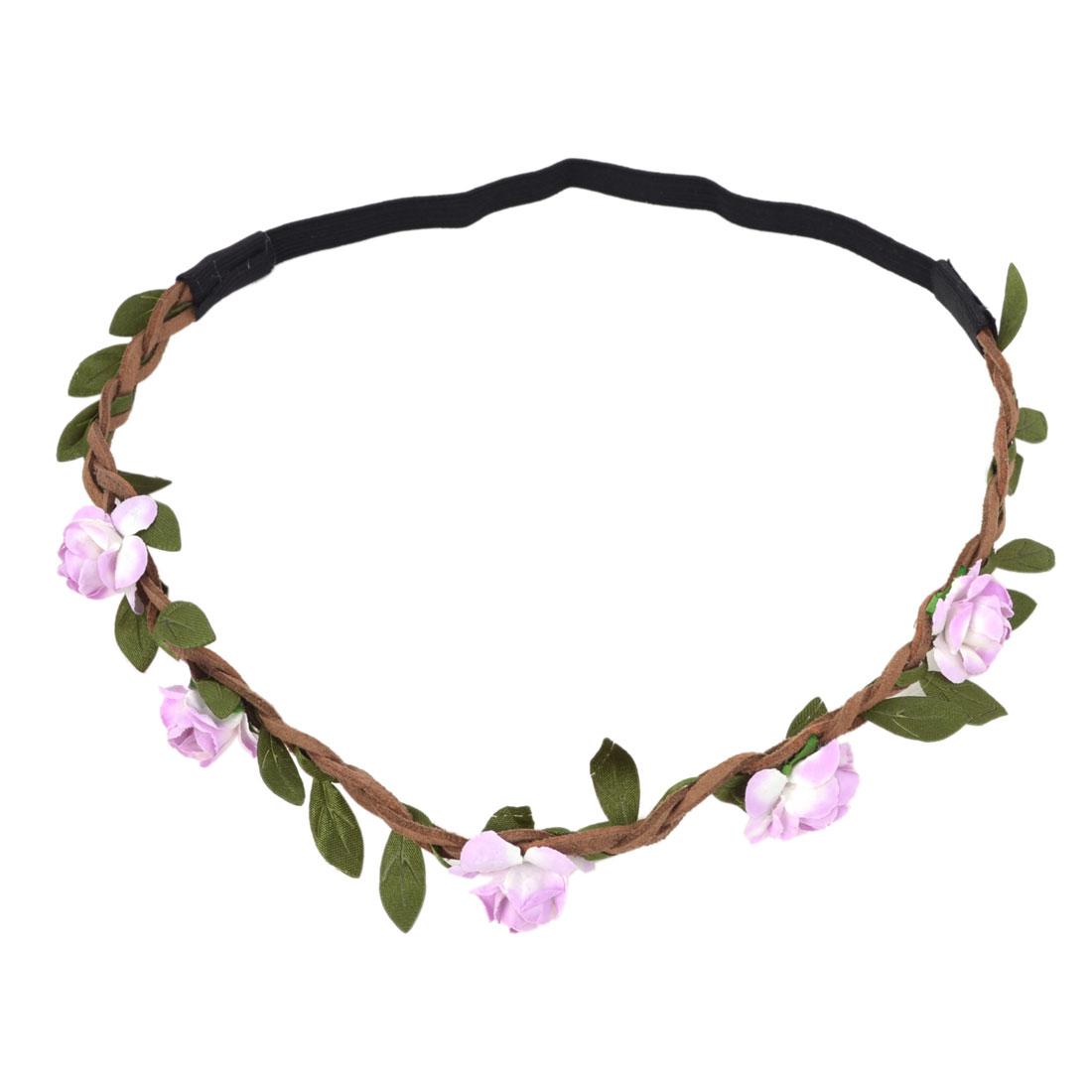 Ladies Hairstyle White Purple Flowers Accent Stretch Braided Hairwear Headband