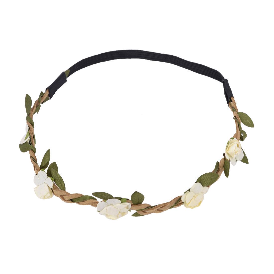 Women Elastic Fiber Flowers Shape Decor Braided Headdress Head Band Beige Black
