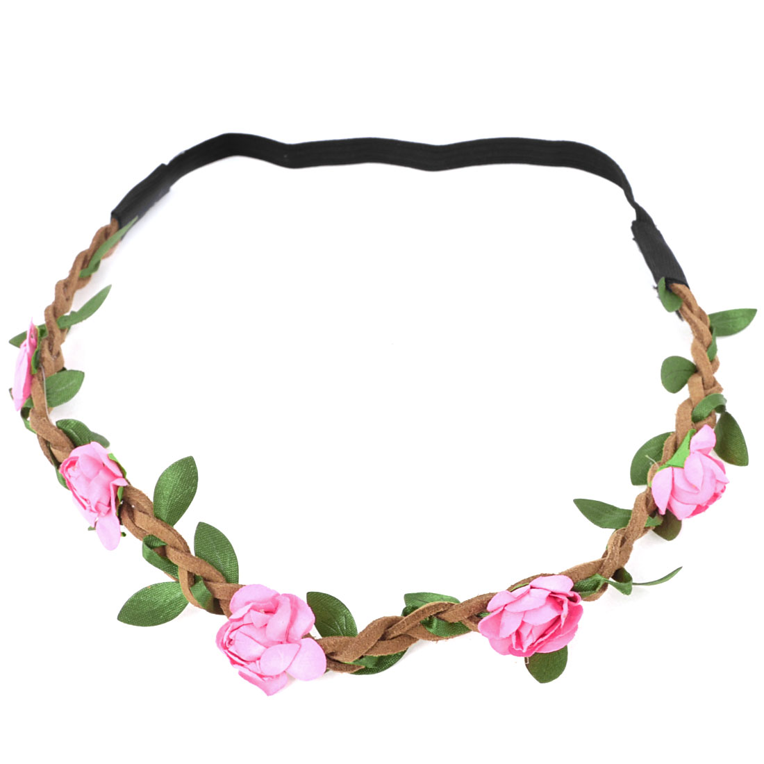 Ladies Hairdressing Fuchsia Flowers Detail Stretch Braided Hairwear Headband